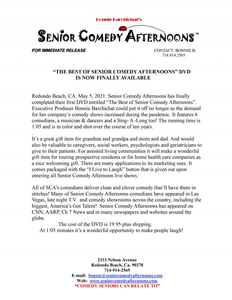 "DVD Release.. ""The Best of Senior Comedy Afternoons"""